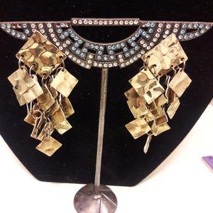 Vintage goldtone pierced dangling earrings